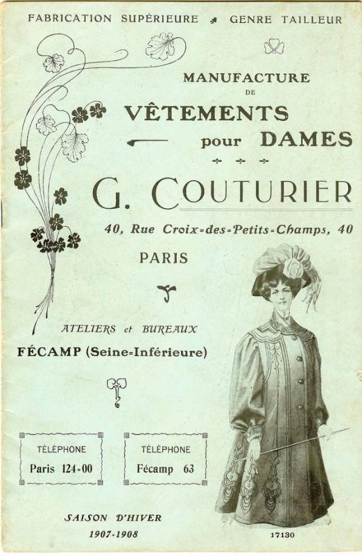 Ets G.COUTURIER COLLECTION HIVER 1907-1908
