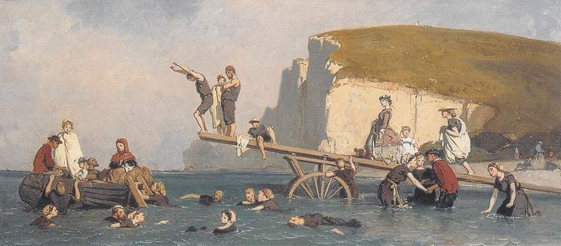 La Baignade à Etretat - Eugène Le Poitevin.