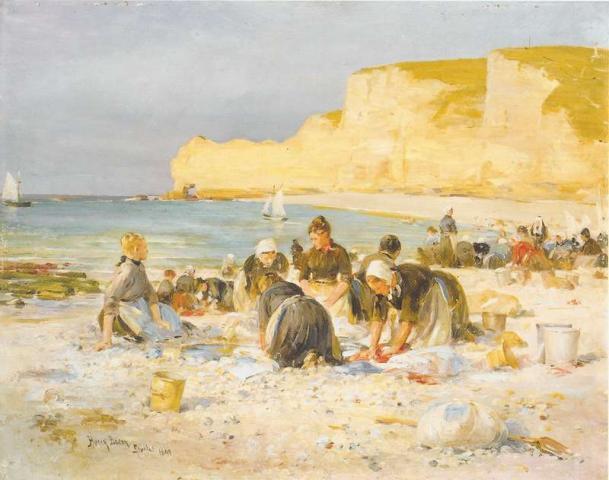 Lavandières sur la plage d'Etretat