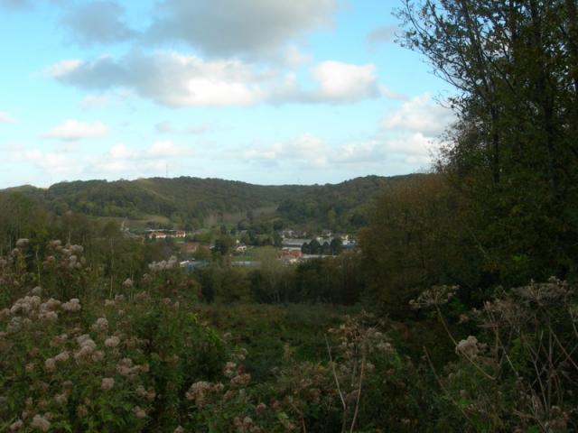 Vue sur la vallée de la Valmont, du bois de l'Epinay