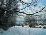 Fécamp sous la neige, du chemin de la cavée blanche