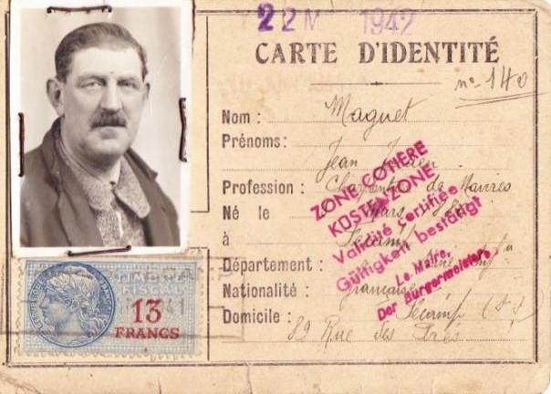 carte d'identité pendant la guerre