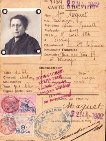 carte d'identite pendant la guerre