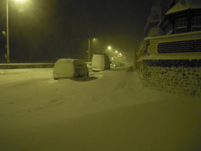 Boulevard Albert 1er, tempête de neige 2013