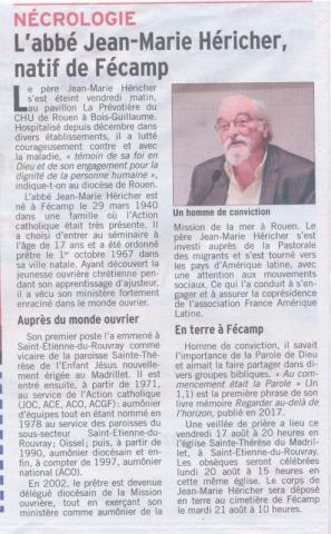 Décès Jean-Marie Héricher né à Fécamp